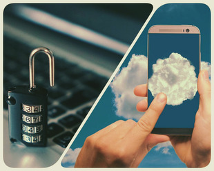 Lock on laptop and cloud on mobile phone